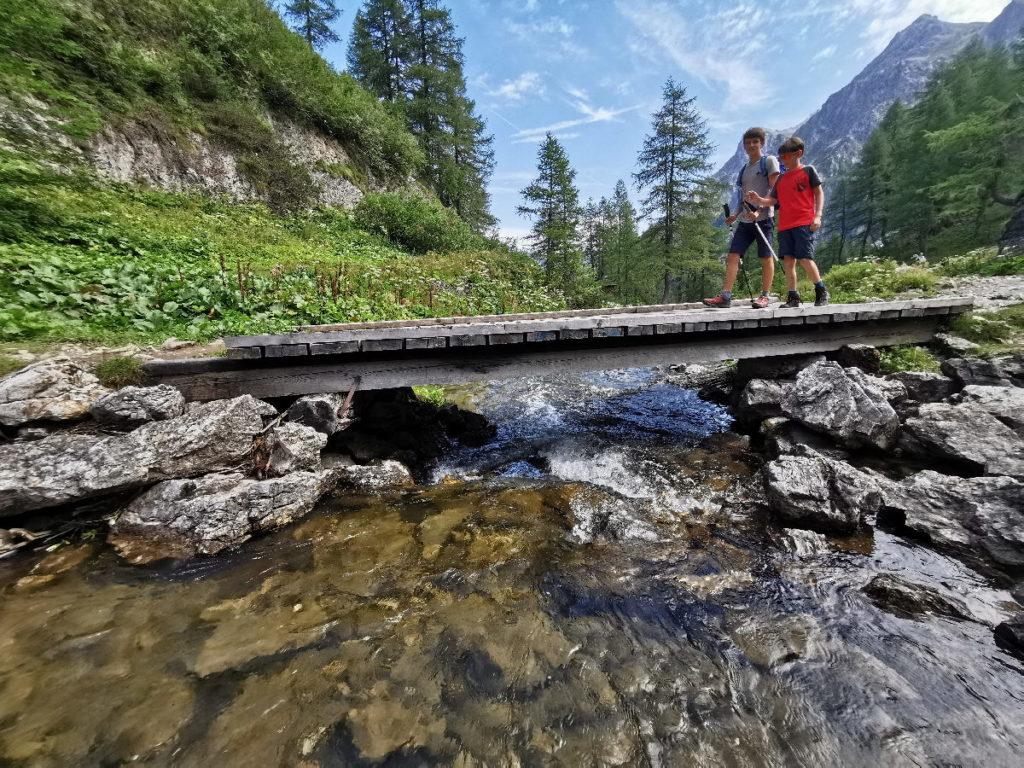 Die Brücke über das Wasser - ein paar Meter vom schönen Bergsee entfernt