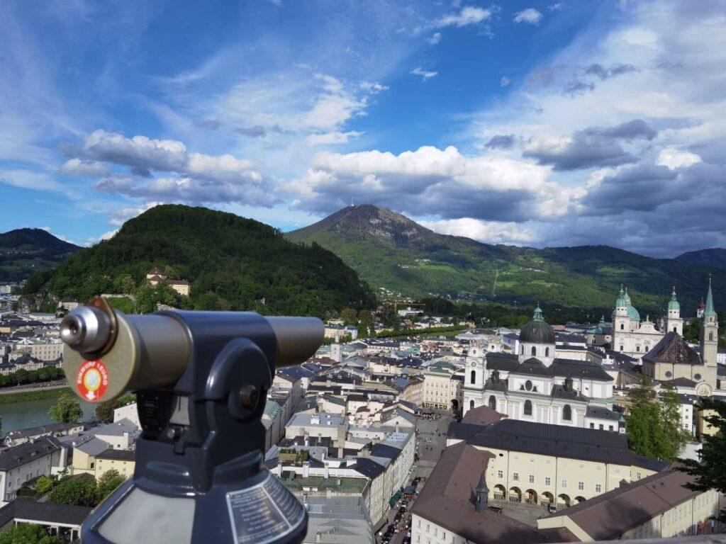 Vom Mönchsberg kannst du die Salzburg Sehenswürdigkeiten ganze nah von oben sehen