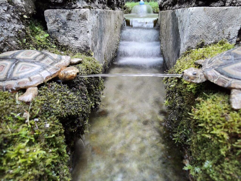 Salzburg Sehenswürdigkeiten bei den Wasserspielen Hellbrunn - mit den filigranen Schildkröten